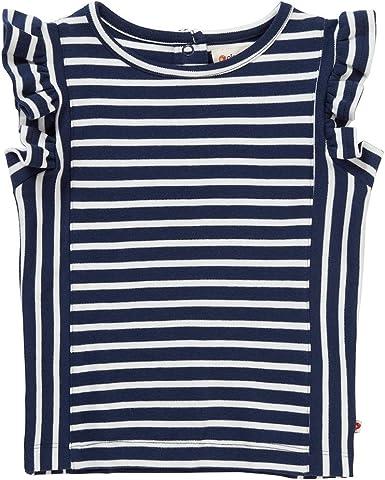 Piccalilly Camiseta con Volantes, Jersey de Algodón Orgánico, Niña, Rayas Azules: Amazon.es: Ropa y accesorios