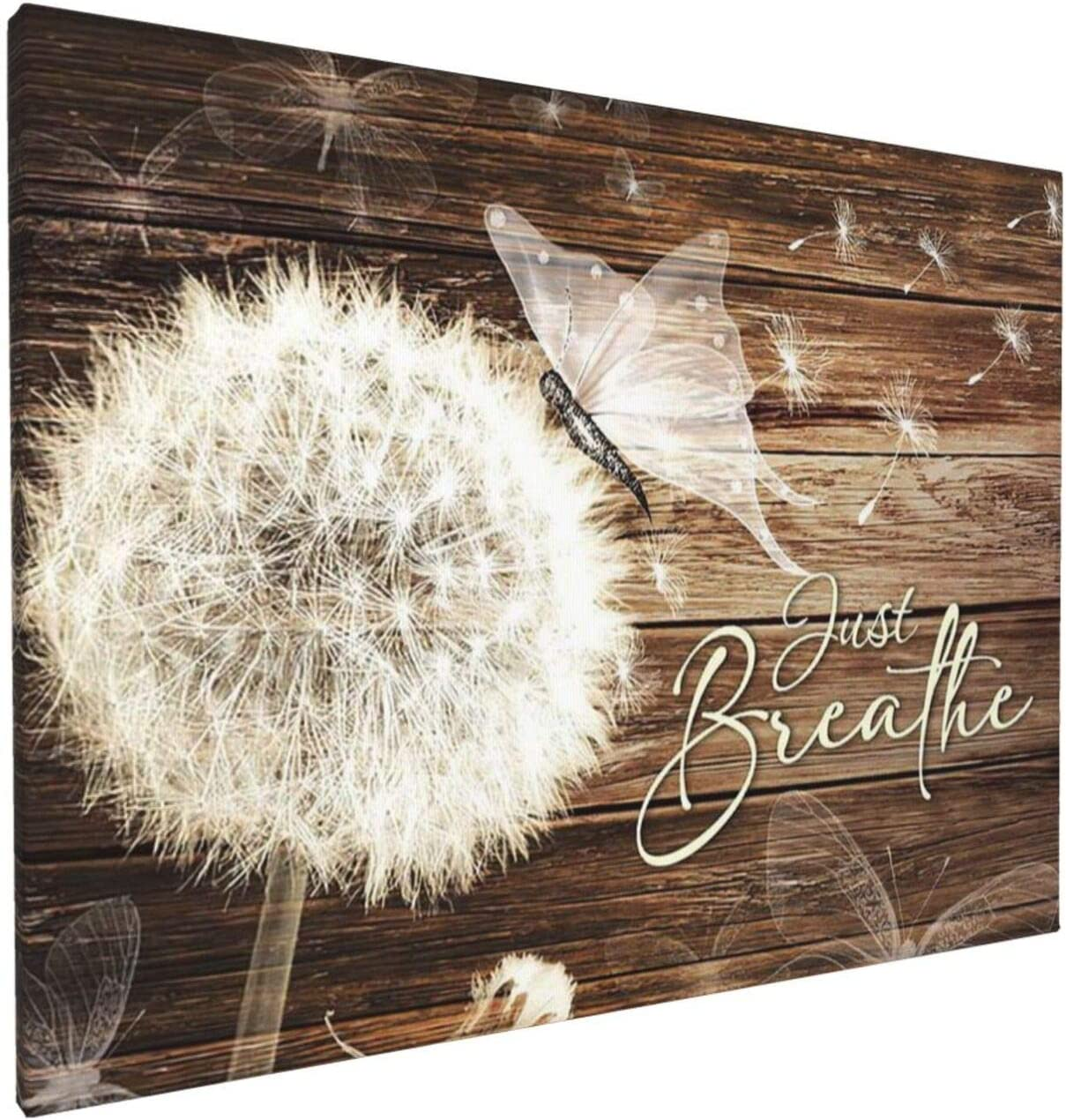 Canvas Wall Art For Bathroom Decor Just Breathe Dandelion Butterfly Wood Pictures Wall Art Modern Rustic White Flower Floral Canvas Giclee Print Painting Wall Decor For Bedroom Living Room Artwork Framed Ready To Hang 12x16inch
