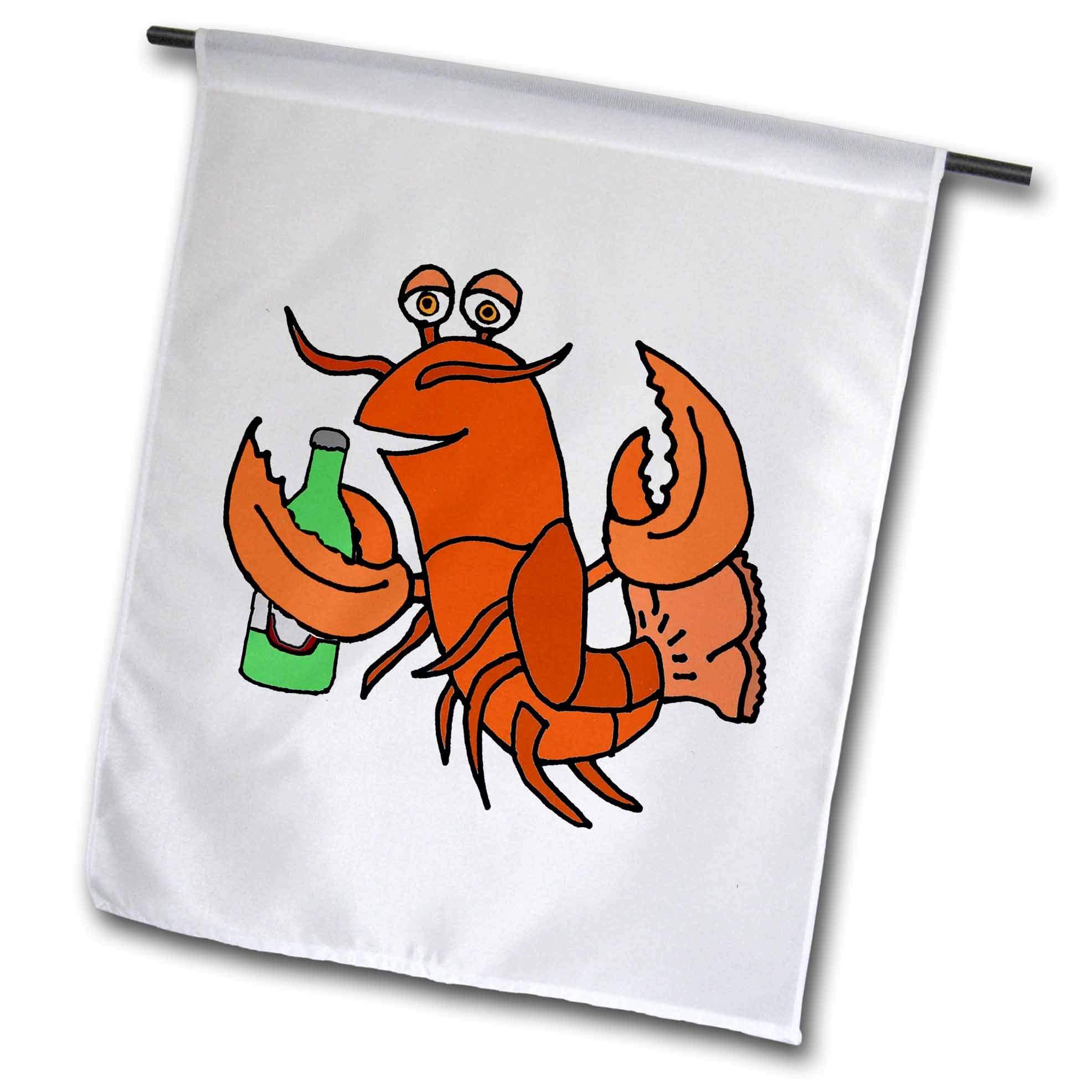 3dRose All Smiles Art Drinking - Cute Funny Lobster Drinking beer Beach Cartoon - 18 x 27 inch Garden Flag (fl_287995_2)