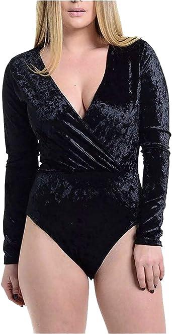 Womens Ladies Velvet Velour Plung V Neck Bodysuit Long Sleeve Leotard Strap Top