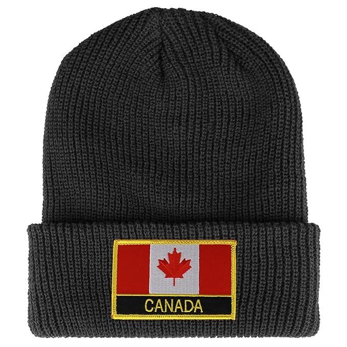 54da0296de1358 CANADA Flag Embroidered Patch Winter Ribbed Cuffed Knit Beanie - DARK GREY