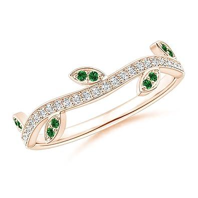 Angara Pave Set Tsavorite Olive Leaf Vine Ring iWs5u