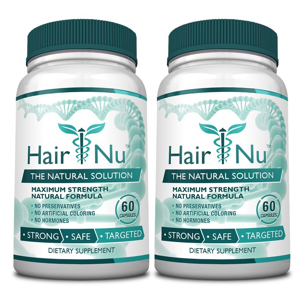 HairNu 500mcg Biotin and 20 Vitamins and Nutrients for hair Growth, 2 Bottles (2 Months Supply) by HairNu