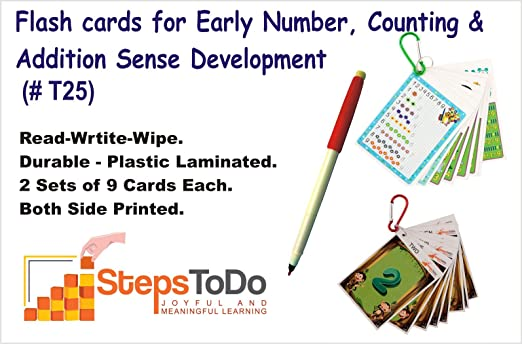 Kutuhal Novel Flash Cards for Learning of 1-9 Numbers. Trace, Count and Addition,Write-Wipe, Set of 18 Durable Flash Cards Printed on Both Sides