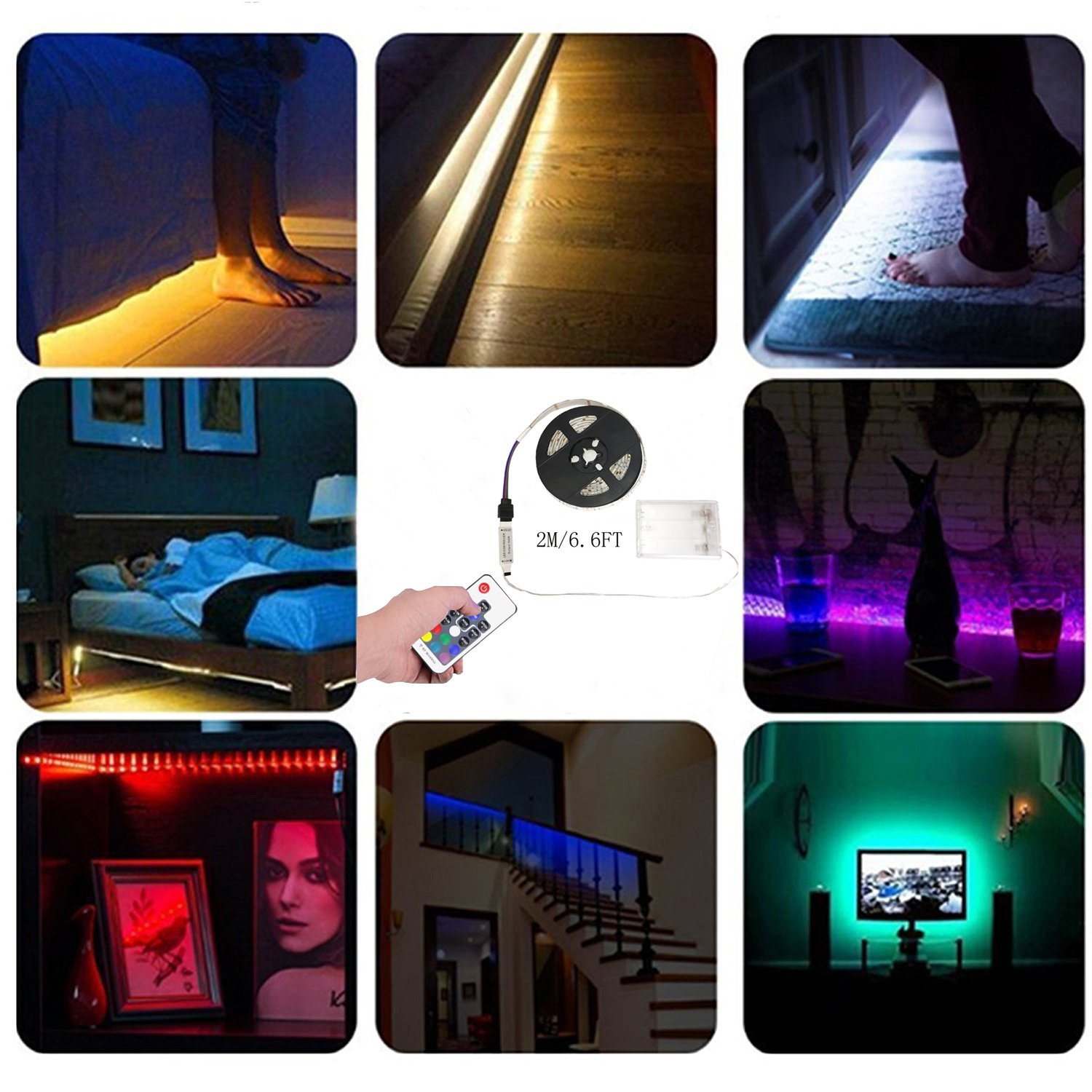 Details about aijiaer Battery Powered Led Strip Lights, 5050 2M6.6FT, Waterproof Flexible