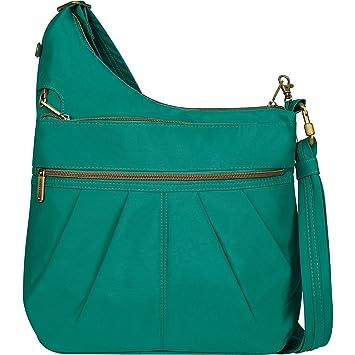 Travelon Anti-Theft Signature 3 Compartment Crossbody Straight Pocket  Shoulder Bag (Crinkle emerald green)  Amazon.co.uk  Luggage 74de91250f837