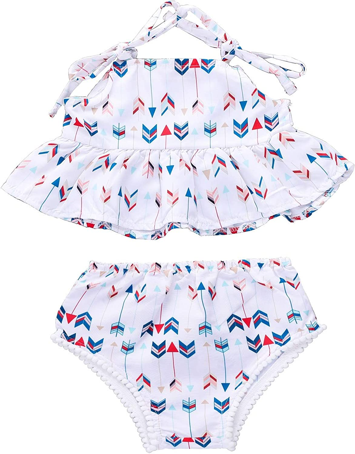 Floral Print Shorts Summer Outfits 0-4T YOUNGER TREE Infant Toddler Baby Girl Shorts Sets Ruffle Sleeveless Top