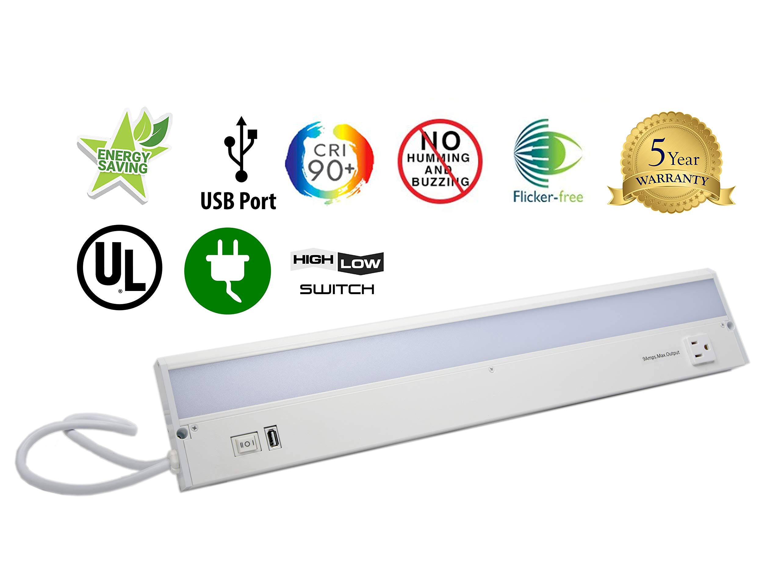 22'' LED Under Cabinet with USB Charging Port and Convenience Outlet - Eco II Series G22-WH-CP-CO-U by Radionic Hi-Tech