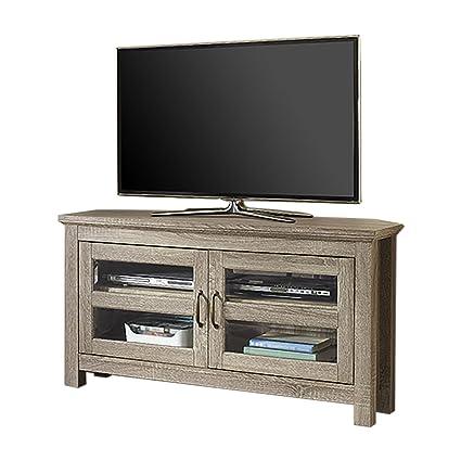 we furniture 44 wood corner tv stand driftwood - Wood Corner Tv Stand