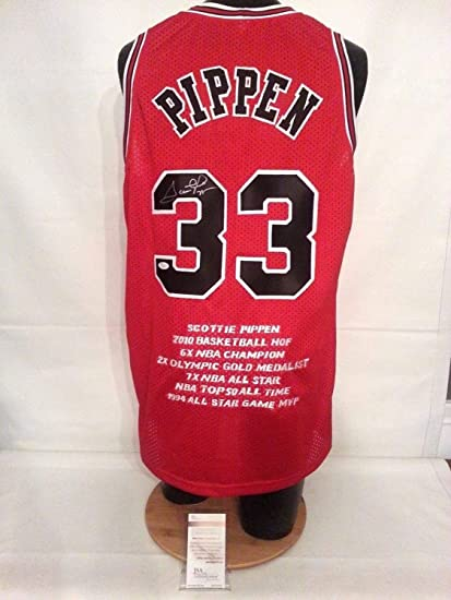 buy popular 7c517 a0a50 Scottie Pippen Autographed Signed Chicago Bulls Red L Stats ...