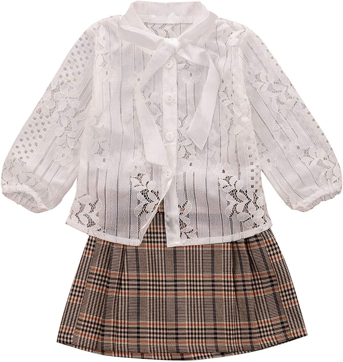 US 2PCS Toddler Baby Girl Autumn Clothes Shirt Tops+Plaids Mini Skirt Outfit Set
