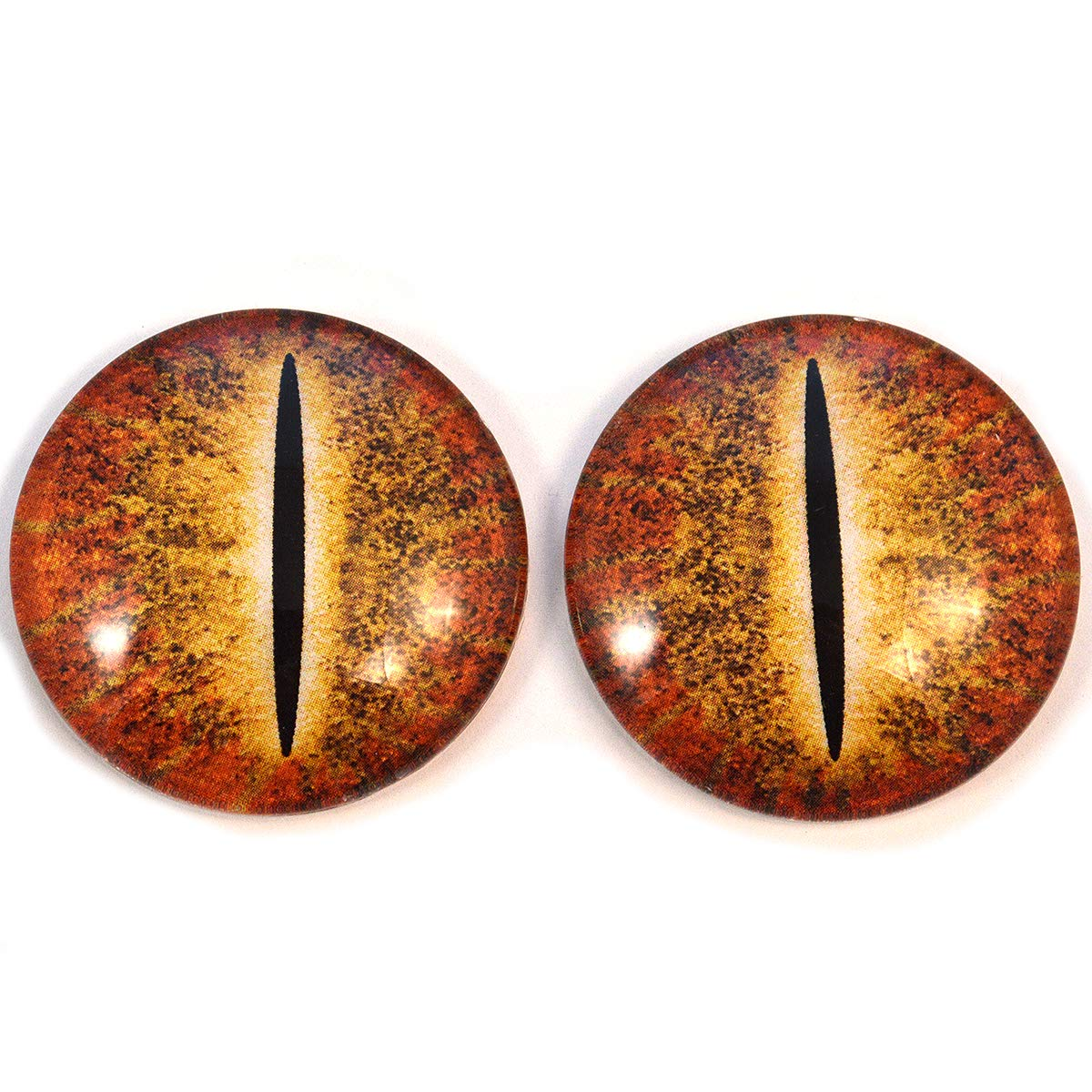 Orange Dinosaur Glass Eyes Dragon Reptile Art Dolls Taxidermy Sculptures or Jewelry Making Cabochons Crafts Matching Set of 2 (40mm)