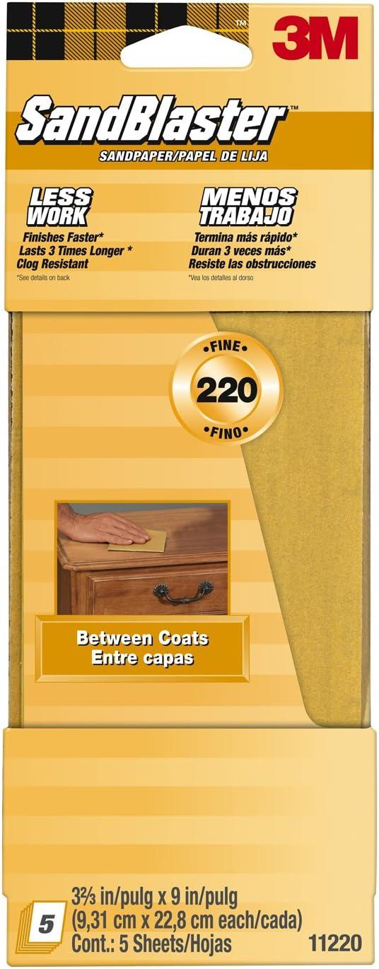 3M SandBlaster Between Coats Sandpaper 5-Pack 220-Grit