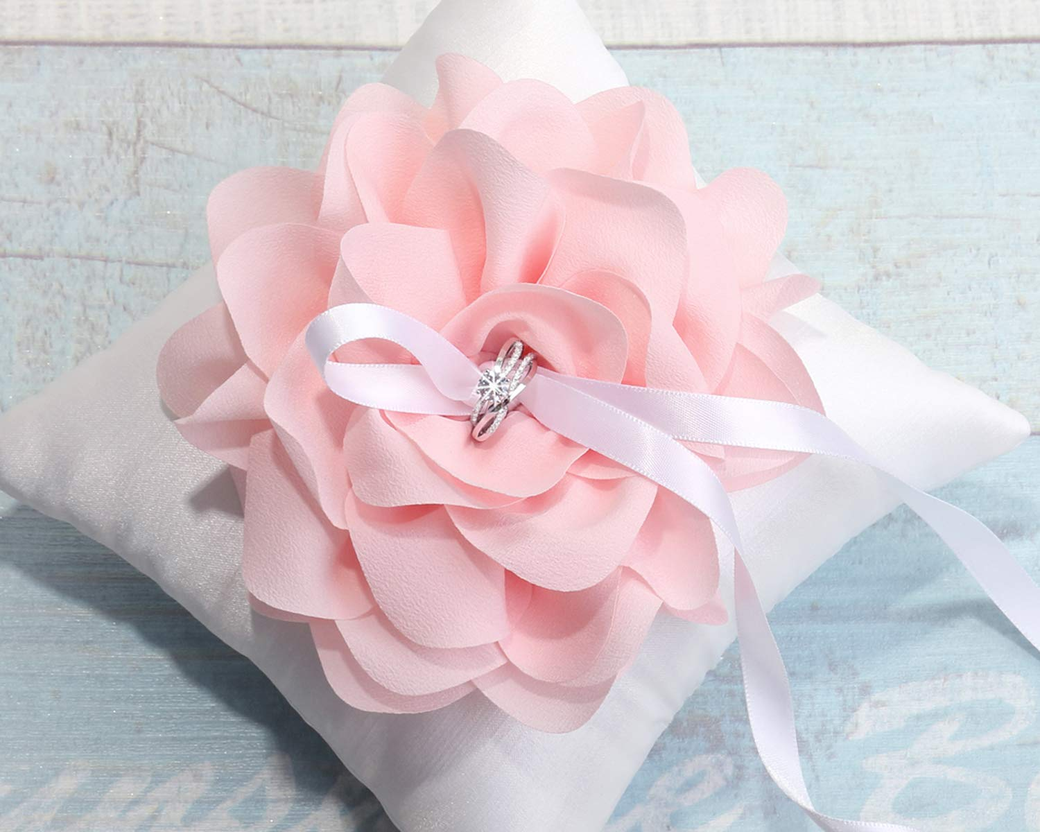 Wedding Ring Pillow with oversized Pink Flower, Wedding Ring Bearer Pillow, Ring Pillow Decoration, Wedding Ring Holder,Wedding decor -T22