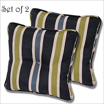 Comfort Classics Inc. Set of 2 Outdoor Buttoned Pillow 14x14x3. Polyester Fabric Black Ribbon Stripe : Garden & Outdoor