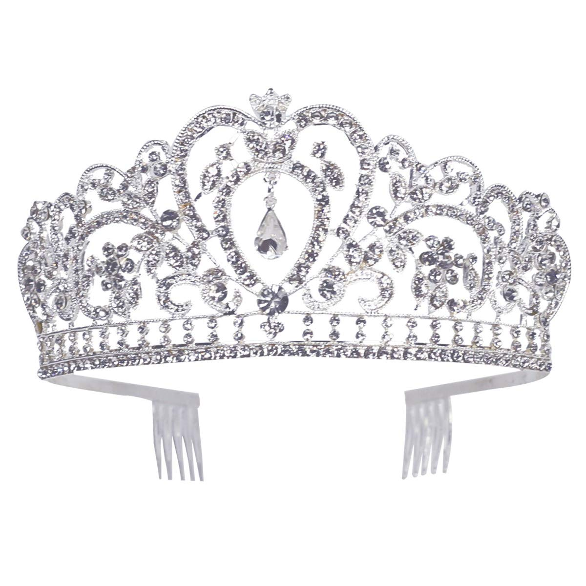 Makone Crystal Crowns and Tiaras with Tomb for Girl or Women Birthday Party Wedding Tiaras (Style-5)