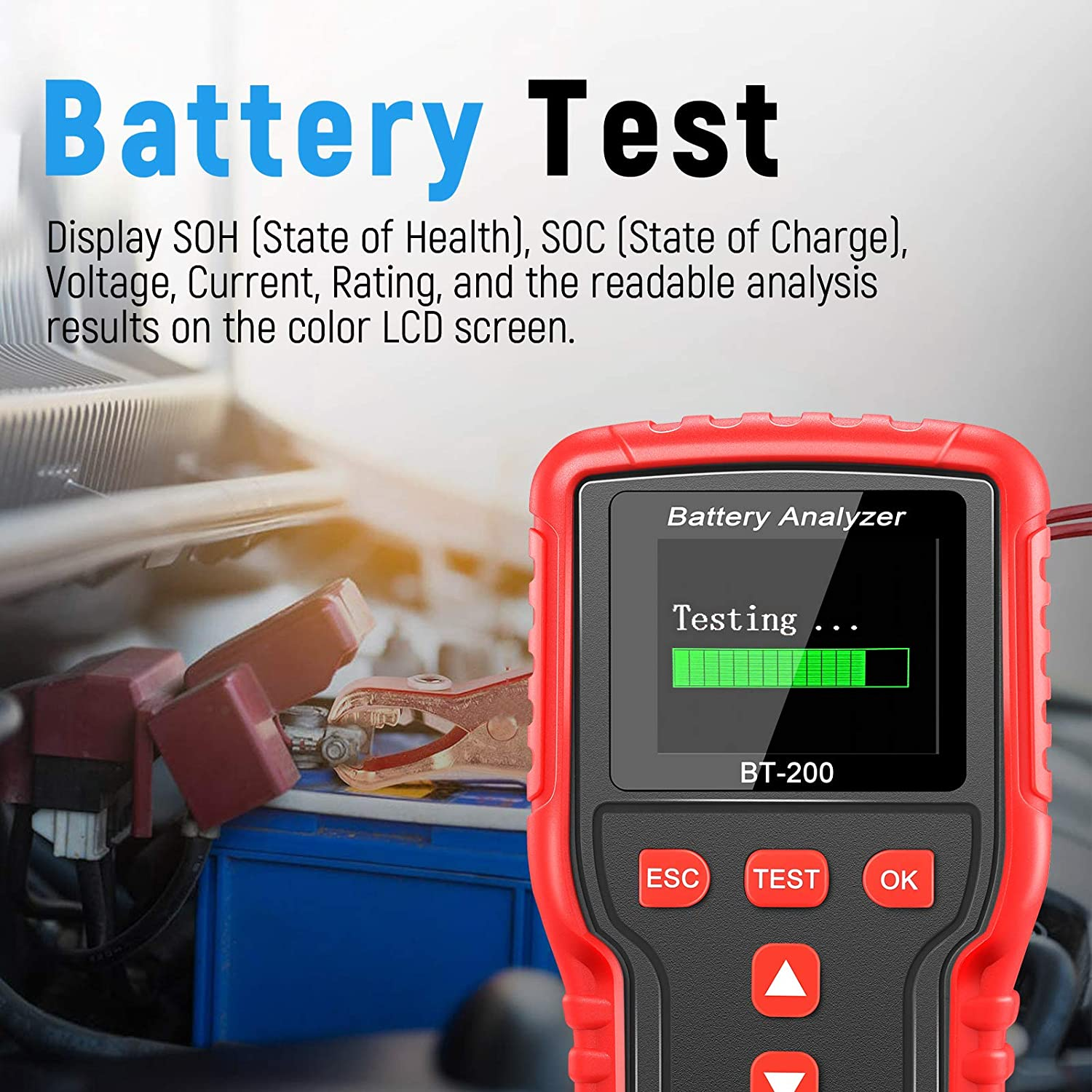 100-2000CCA Fast Accurate Battery Load Tester With TPU Case 2.4 Color Screen LNEX 12V 24Volt Automotive Battery Tester Car Battery Tester Heavy Duty Trucks Auto Digital Battery Analyzer For Cars