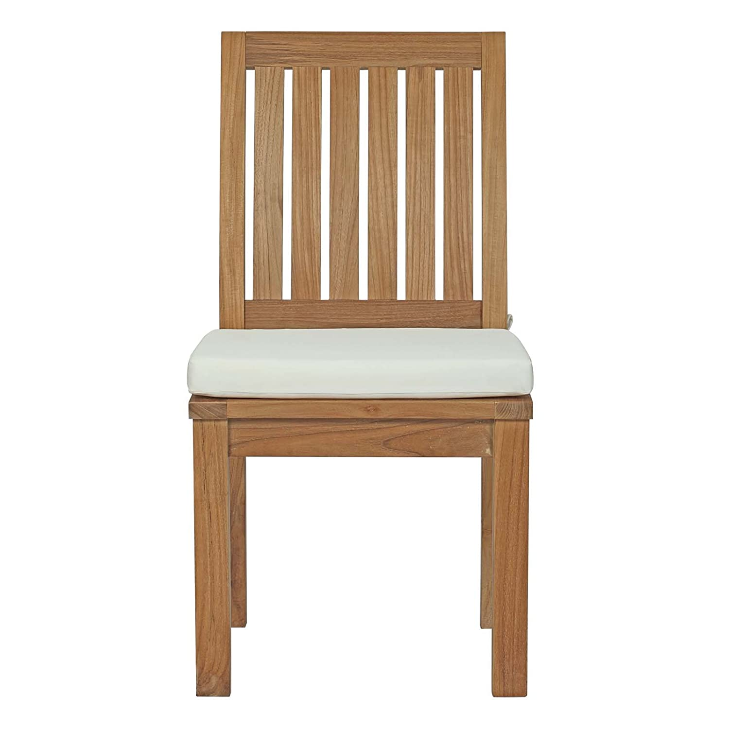 Amazon Com Modway Marina Teak Wood Outdoor Patio Dining Side Chair