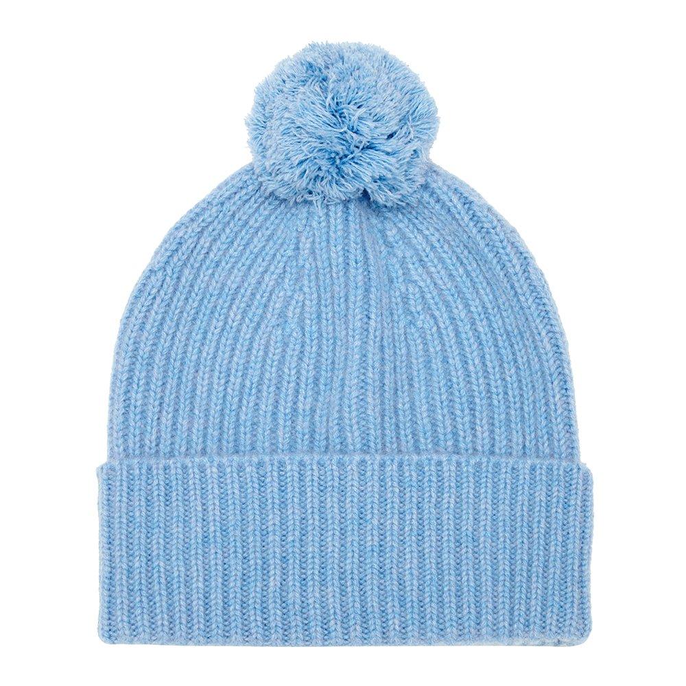 Pure Cashmere Bobble Hat, Blue