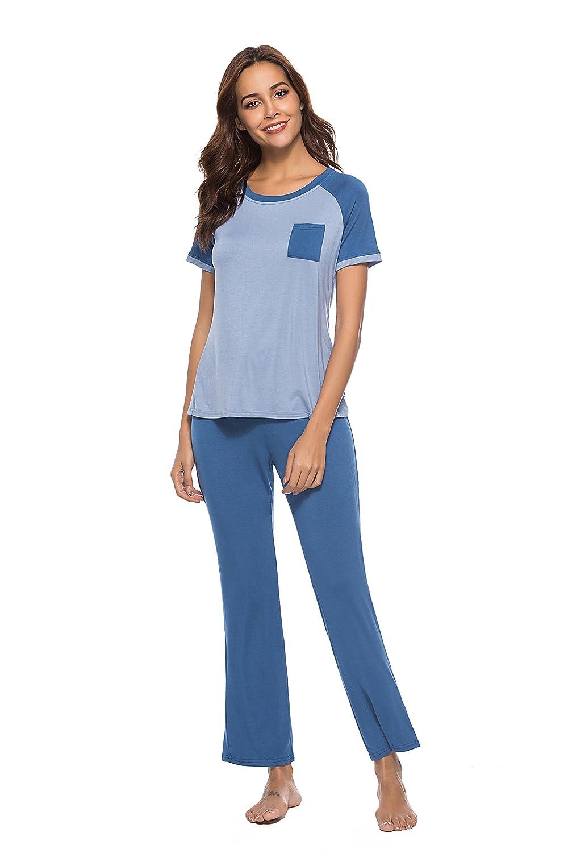 bluee Poseca Women's Homewear ShortSleeved Pajamas top with Long Trouser Pajamas.
