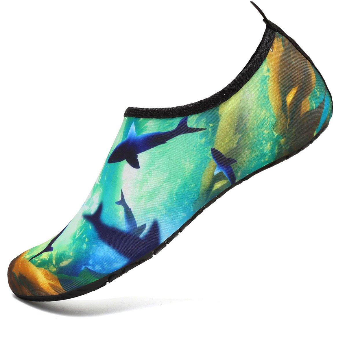 VIFUUR Kids Girls Boys Water Shoes Lightweight Barefoot Quick-Dry Aqua Yoga Socks for Beach Swimming KOcean 22/23
