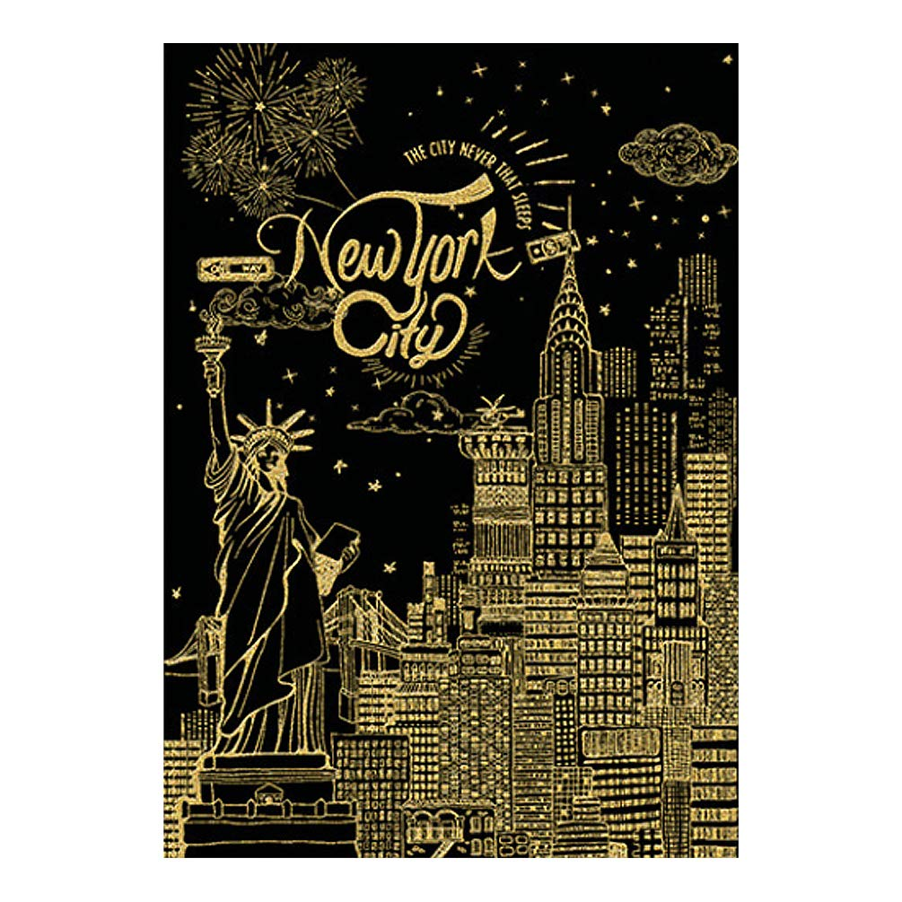 C-pop Scratch Art Paper DIY Night View Scratchboard for Adult and Kids, Four Series Size 11.2''x16''-Castle
