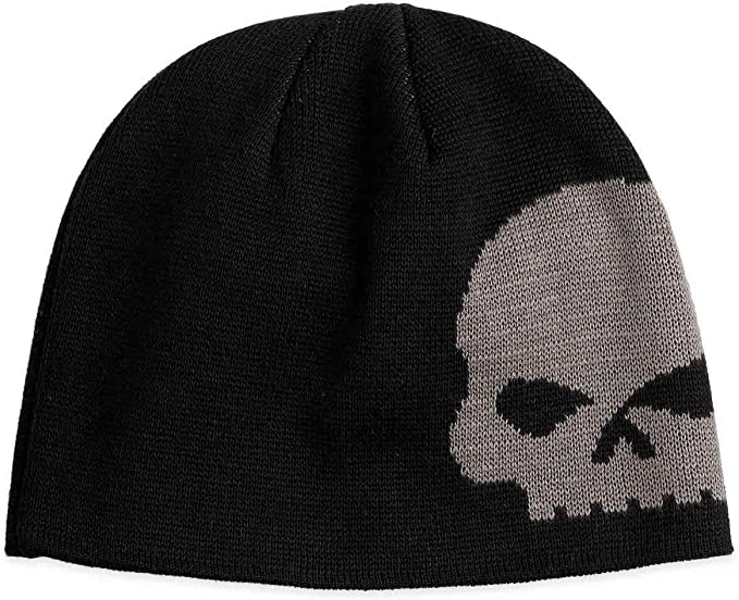 Skull graphic on front Harley-Davidson beanie