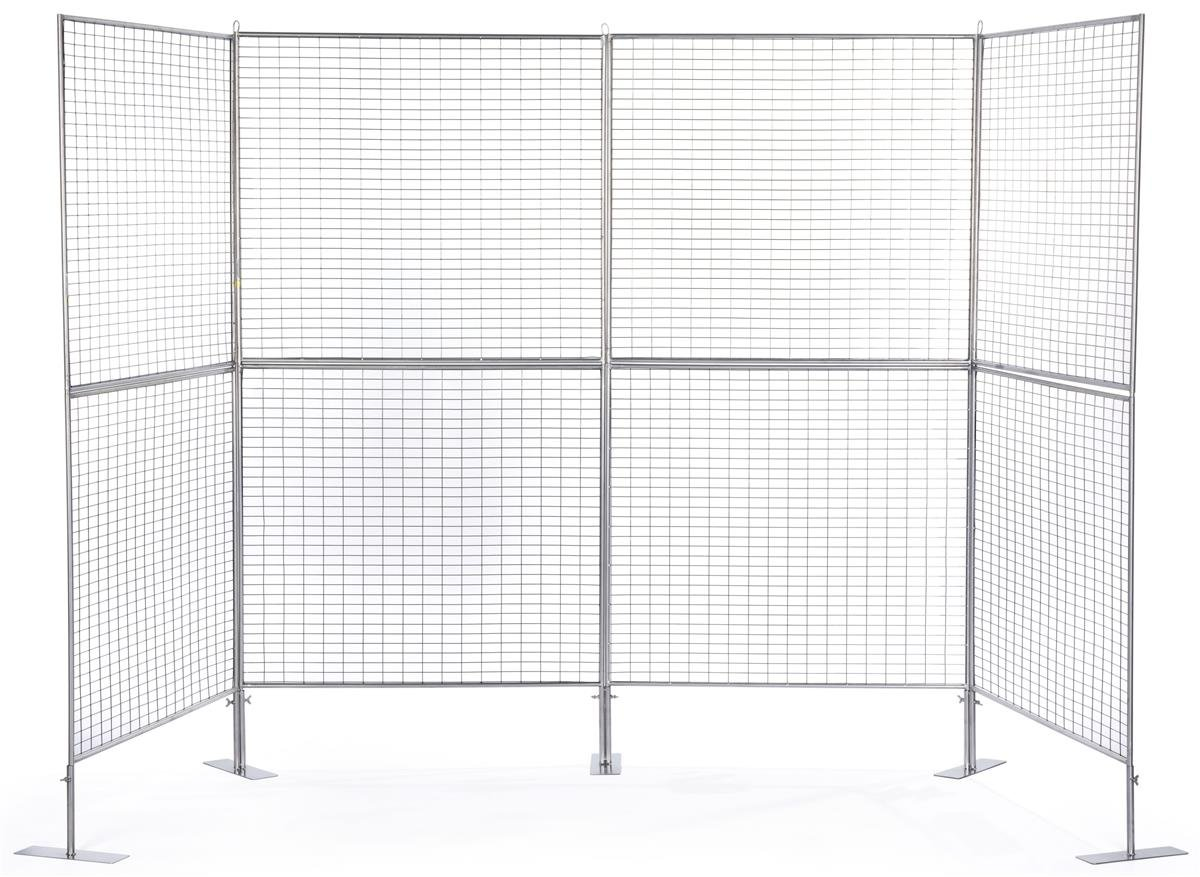 Displays2go Art Display Grids, Floor Standing, Double Sided, Metal Mesh Iron Construction – Silver Finish (AD4PNL)