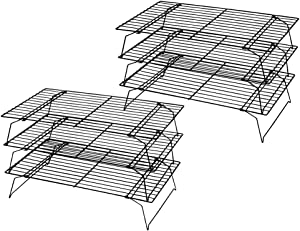 Kingrol 2 Pack 3-Tier Stackable Cooling Rack, Non-stick Wire Cake Rack for Pies, Cookies, Pastries