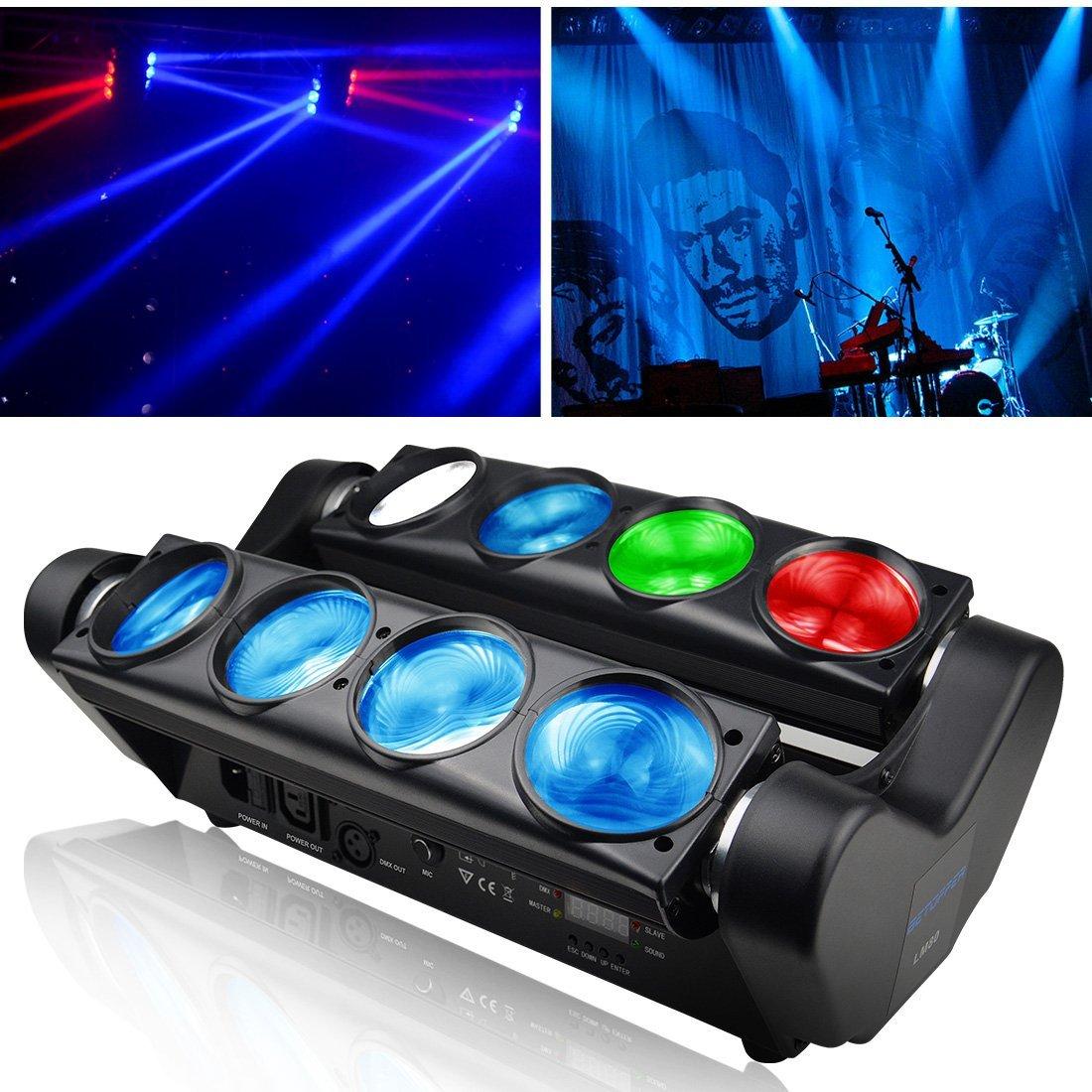 BETOPPER Spider Moving Head Light RGBW, 8 x 3W LED Lighting DMX 512 Dual Sweeper Pulse Strobe Effect for DJ Live Concert Lighting 4334419323