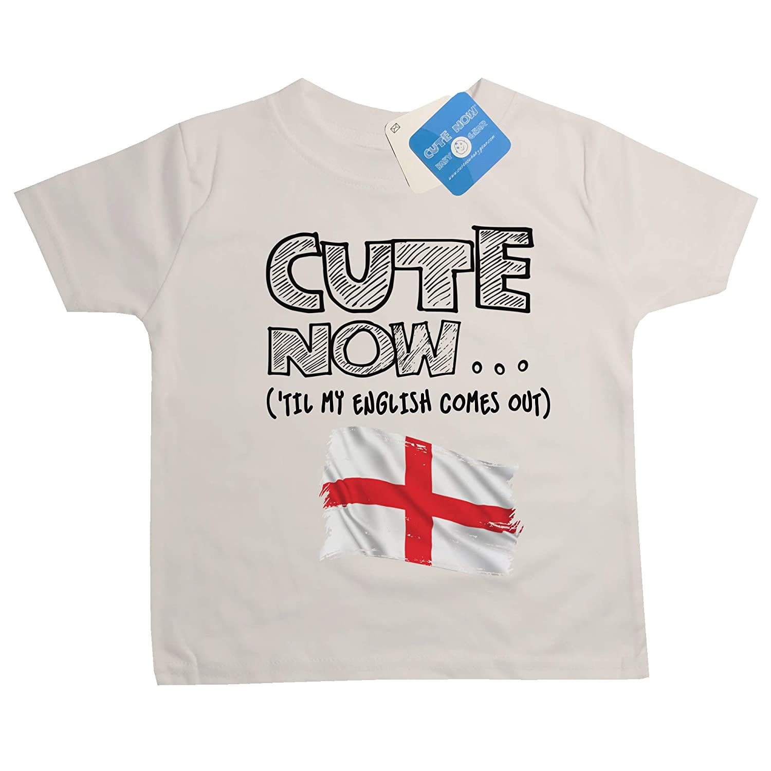 Cute Now Toddler England T-Shirt Til My English Comes Out Kids Shirt Top in White 2T-4T