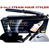 Steam Ceramic Hair Straightener Flat Iron - Professional Hair Salon Steam Styler Ionic Steamer 3-in-1 | Straightner Curler Flip-up | For Argan Oil Hair Treatment, Vapor | PureBlackMagic by TRENDY PRO