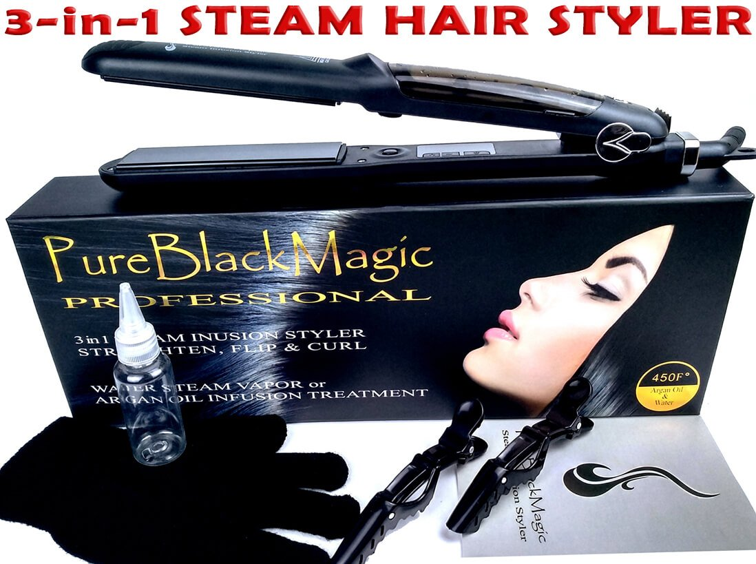 Steam Ceramic Hair Straightener Flat Iron - Professional Hair Salon Steam Styler Ionic Steamer 3-in-1 | Straightner Curler Flip-up | For Argan Oil Hair Treatment Vapor | PureBlackMagic by TRENDY PRO