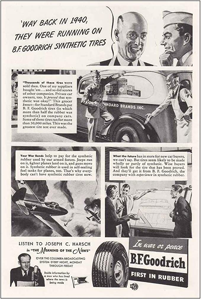 Amazon Com Relicpaper 1943 Bf Goodrich Tires Way Back In 1940 Goodrich Tires Print Ad Posters Prints