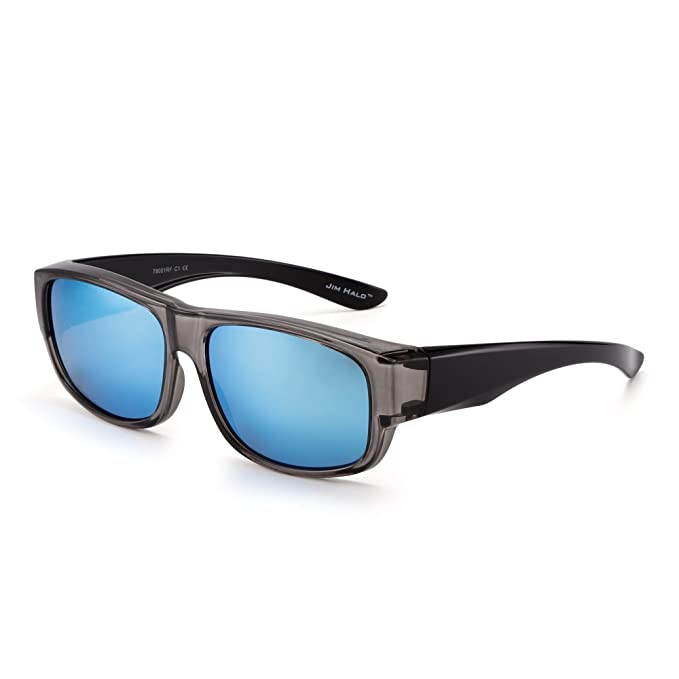 b5ff9a7808 Polarized Fit Over Sunglasses Mirrored Oversize Wear Over Glasses Men Women  (Grey Mirror Blue