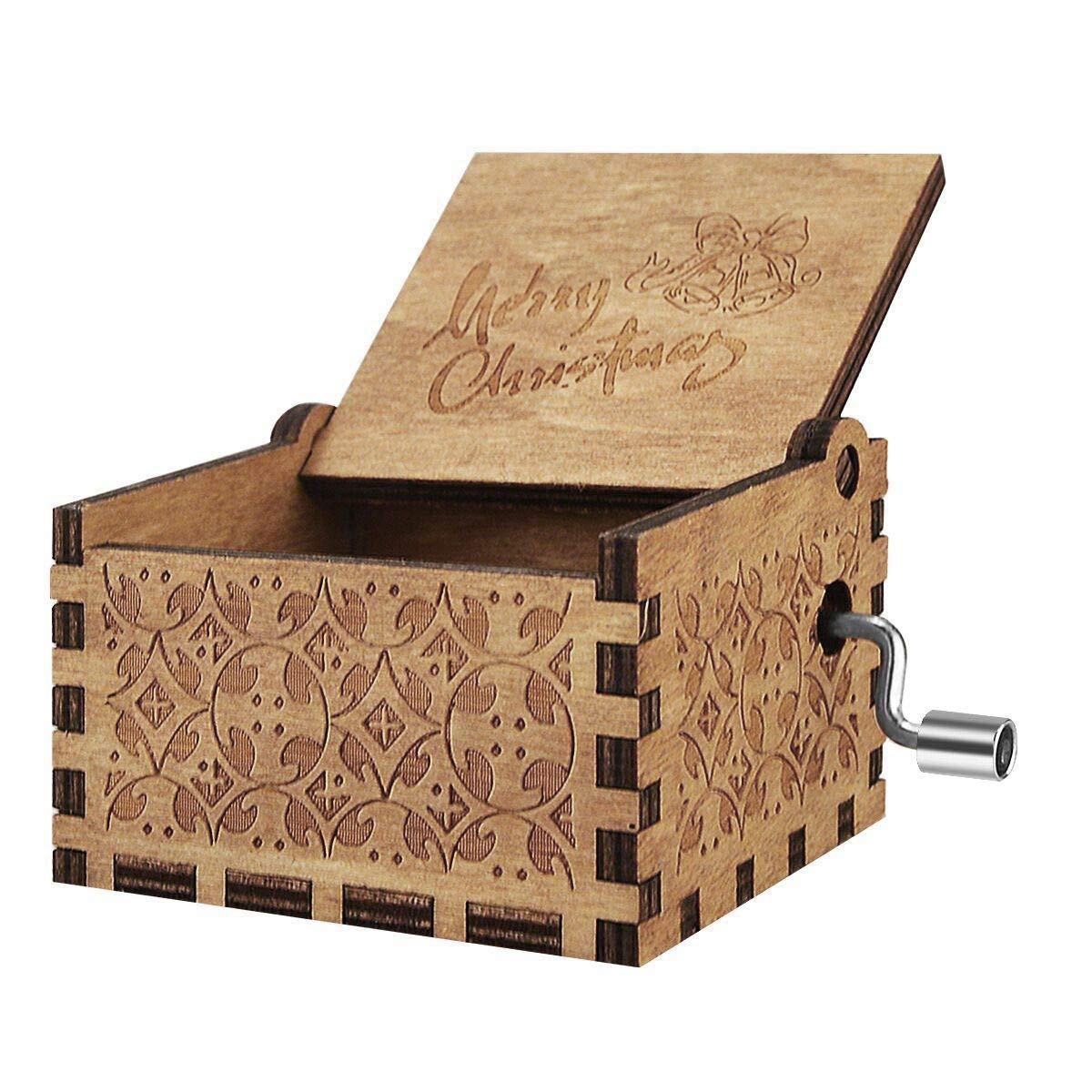 BOENFU Caja de música de manivela de Madera Antiguo Tallado clásico Decorativo Caja de Regalo para niños Amigos Familia Juguete Musical decoración del hogar ...