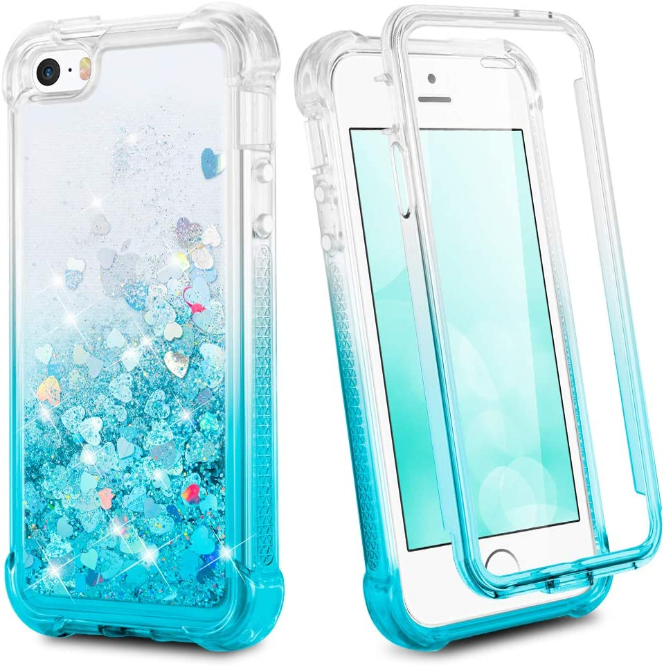 Ruky iPhone 5 5S Case, iPhone SE (2016) Glitter Full Body Case for Girls with Screen Protector Shockproof Protective Bling Liquid Girly Case for iPhone 5 5S SE (Gradient Teal)