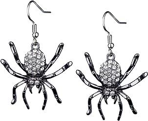 SIX Ohrringe: Auffällige Ohrhänger mit schwarzen Spinnen und funkelnden Strasssteinen, perfekt für Fasching und Halloween, schwarz/silber (732-980)