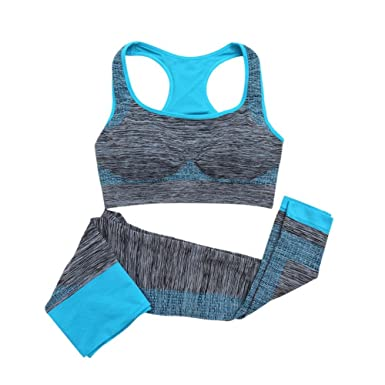 26c7782f9d Balai Women Yoga Fitness Seamless Bra+Pants Leggings Set Gym Workout Sports  Wear  Amazon.co.uk  Clothing