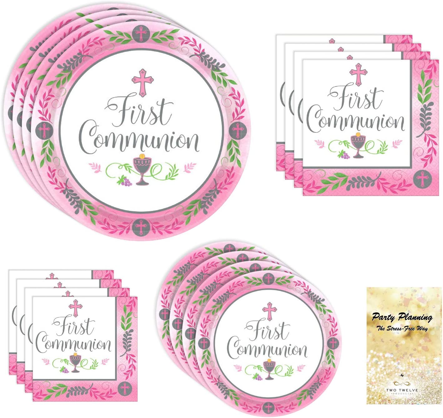 First Holy Communion Party Supplies, Pink Design, 18 Guests, Disposable Paper Dinnerware Bundle, Dinner Plates, Dessert Plates, Lunch Napkins and Beverage Napkins