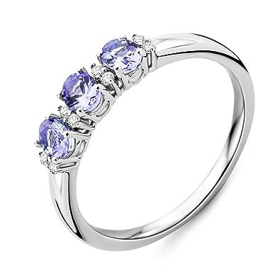 Miore Sapphire Ring, 9ct White Gold, Diamond Setting, SH019RM