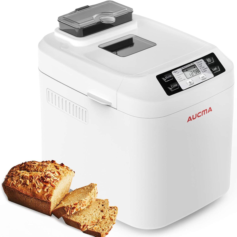AUCMA Panificadora, Máquina para Hacer Pan con 12 Programas, Panificadora Automática de dispensador,Pan sin gluten,sin BPA, 3 Niveles de Horneado,pantalla LCD y mantener la función cálida: Amazon.es: Hogar