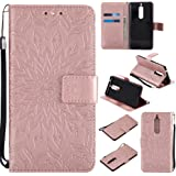 Nokia 5 Case, Dfly Premium Soft PU Leather Embossed Mandala Design Stand Function Card Slot Holder Slim Flip Wallet Cover for Nokia 5, Rose Gold