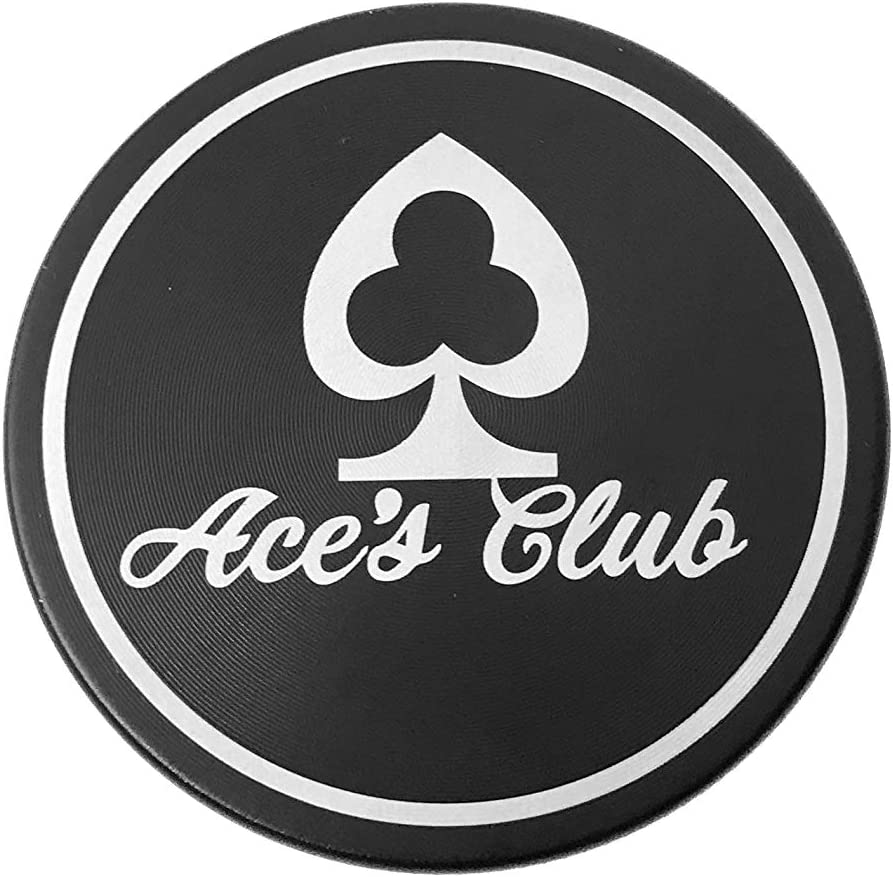 Aces Club Premium 4 Piece Herb Grinder 2.2 Inches Black Zinc Alloy with Pollen Catcher