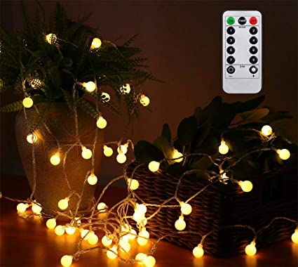 AMARS 33FT Battery Operated Globe String Lights with Remote Timer Room  Hanging Fairy Lights for Christmas, Bedroom, Tapestry, Indoor, Outdoor,  Party, ...