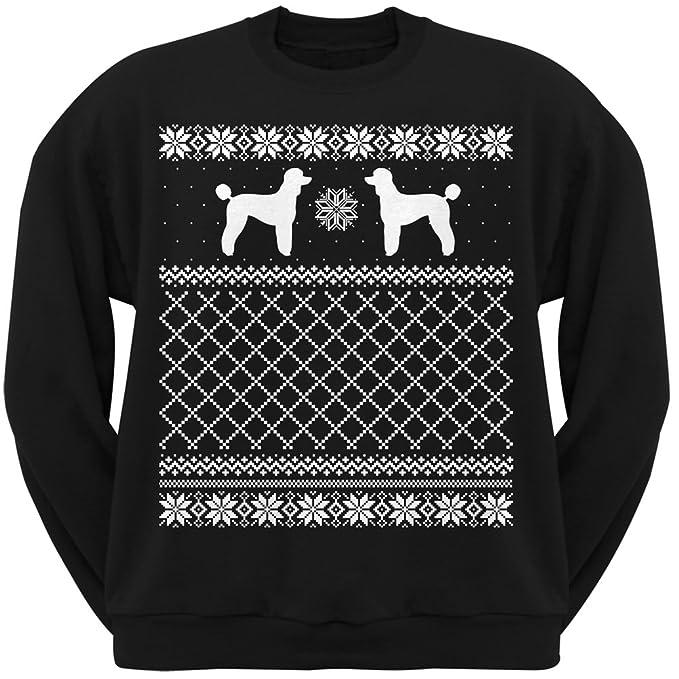 animal world poodle black adult ugly christmas sweater crew neck sweatshirt small - Black Christmas Sweater