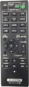 Remote Control RM-ADU138 for Sony DVD Home Theater System DAV-TZ140 HBD-TZ140 by QINYUN
