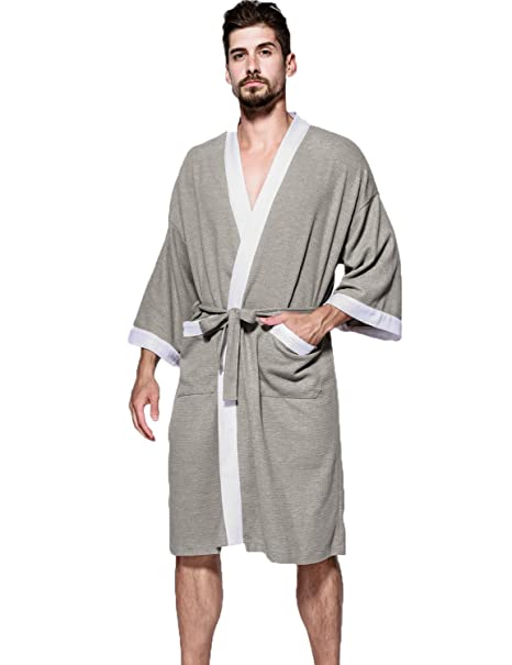 Hammia Hombres Waffle Robe Batas Pure Cotton Lightweight Albornoces Gents Kimono Style Wrap Loungewear para All Seasons SPA Hotel Pool Camisones Sauna: ...