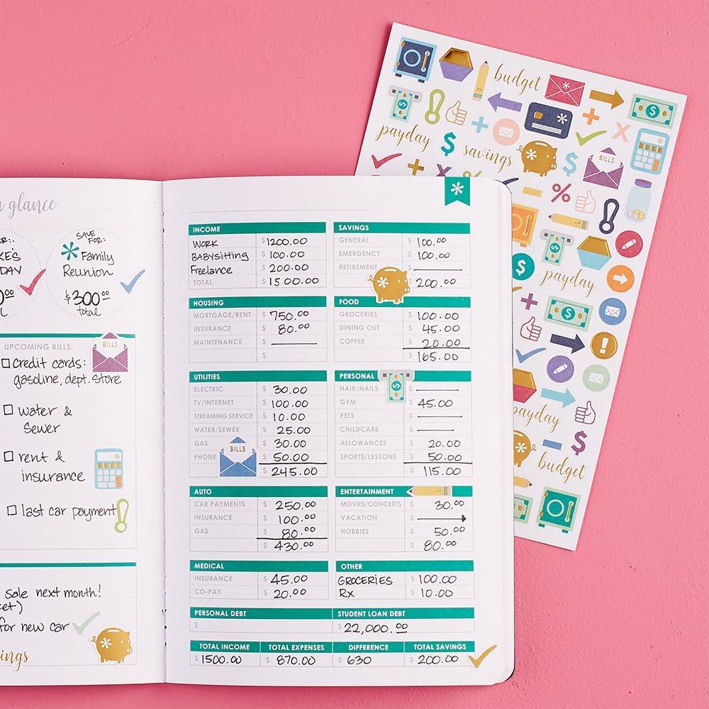 Erin Condren Designer Petite Planner Financial Planner Bud Planner Organizer Book with Debt Tracking Spending Tracking Functional Stickers &