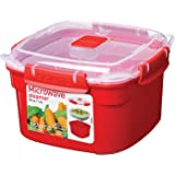 Sistema Microwave Small Steamer with Removable Steamer Basket, 1.4 L - Red/Clear
